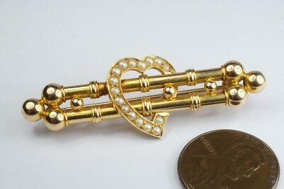 FINE QUALITY ANTIQUE ENGLISH 15K GOLD PEARL WITCH'S HEART BAR BROOCH c1900