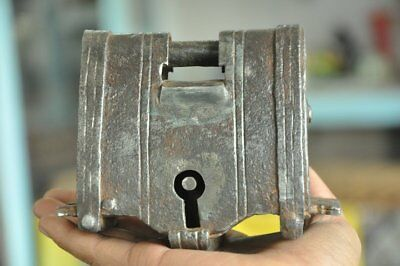 1930's Old Iron Handcrafted Unique Shape Heavy 2 Key Tricky/Puzzle Padlock