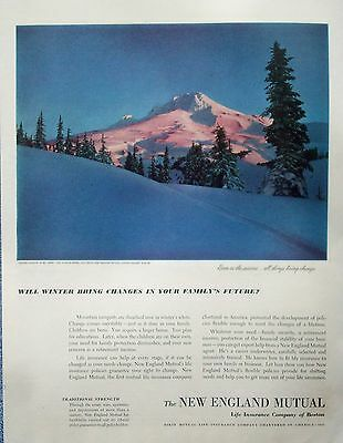 1950 New England Mutual Winter Sunrise Mt Hood High Point Oregon All Things ad