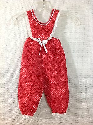 Girls Vintage Quilted Overalls Baby Jumper Red with white Polka Dots, 18 mo