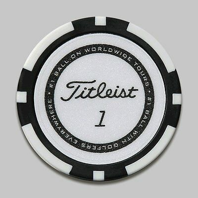 Titleist Poker Chip Golf Ball Marker. Black / White.
