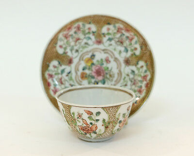 Splendid Antique 18thC Chinese Porcelain Cup & Saucer with Floral Decorations