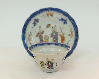 Antique 18thC Chinese Export Porcelain Cup & Saucer Decorated with Young Girls