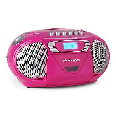 Mobile Usb Cd Player Aux In Fm Radio Tuner Musik Stereo Boombox Anlage Pink Neu