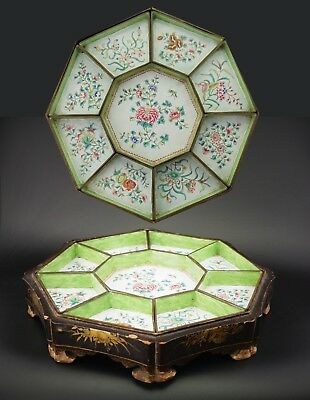 FINE LARGE Antique 18/19thC Chinese Cloisonne Enamel SWEETMEAT Dish Lacquer Tray