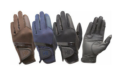 HY5 PRO PERFORMANCE HORSE RIDING GLOVES - BLACK / NAVY leather palm