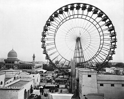 1893 WORLD'S COLUMBIAN EXPOSITION FERRIS WHEEL 11x14 SILVER HALIDE PHOTO PRINT