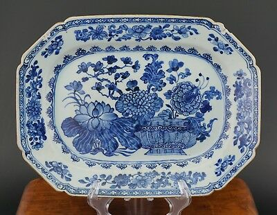 LARGE 33.5cm Antique Chinese Blue and White Flower Plate Charger QIANLONG 18th C