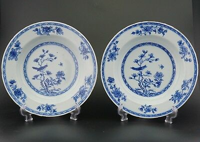 FINE PAIR Antique Chinese Blue and White Magpie Plate Charger YONGZHENG 18th C