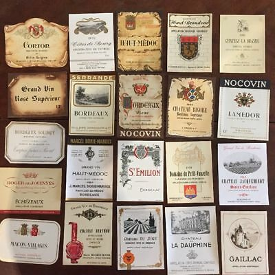 60 Wine Labels / 60 Etiquettes De Vin - France - 50's To 80's - Unused
