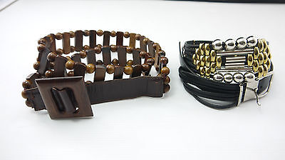 SET OF 2 BELTS VINTAGE 1970 WOOD AND LEATHER condition (A231)