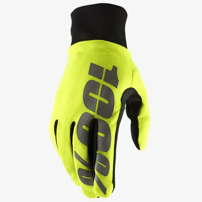 100% Hydromatic Waterproof Motocross Enduro Bike Gloves Neon Yellow Mtb Enduro