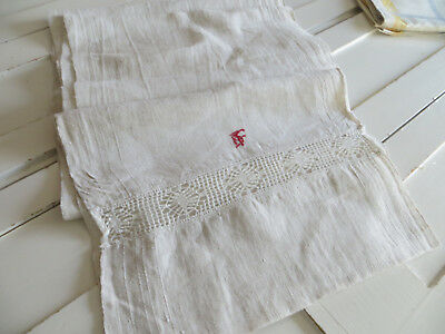 2.94 Yards Antique Handwoven Linen Fabric Towel Runner Bobbin Lace Monogram