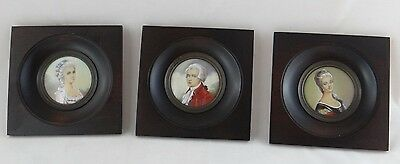 3 Miniatures Antique Wood Black Two Women And Young Man Clothes Time (C377