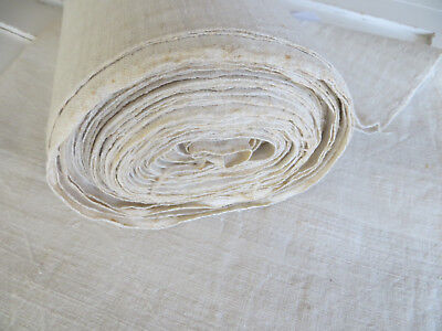 "Antique  Handwoven White Of Cream  Handwoven Linen Fabric 26""by 9.30  Yards"