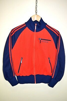 vtg 70s ADIDAS OLDSCHOOL CASUALS RETRO TRACK JACKET TRACKSUIT TOP SIZE UK 16