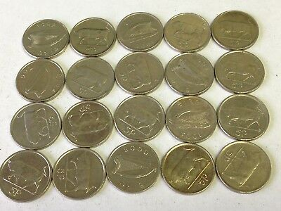 20 x Irish Bull / Oxen 5 Pence Coins, EIRE Harp, Ireland animal coins