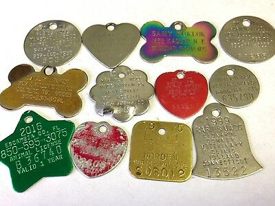 Lot of 12 various Dog Tax, License, Name, & Rabies Tags - WYSIWYG