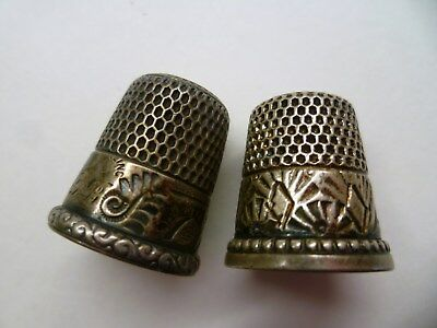 2 Antique STERLING SILVER Sewing THIMBLES, SCENIC Simons, Ketcham & McDougall