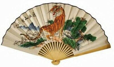 "(1) ORIENTAL 60"" FENG SHUI ~ ASIAN TIGER ~ Chinese Wall Decor Fan"