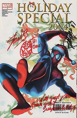 SPIDERMAN autografato 2004 Vacanza Special Marvel comic- Creator - STAN LEE ART