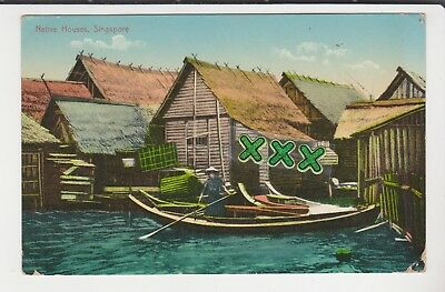Postcard - Native Houses,  Singapore - Posted Straits Settlements Stamp 1914