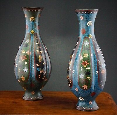 FINE! Pair Antique Japanese Cloisonne Lobed Vases with Butterfly Flowers 19th C
