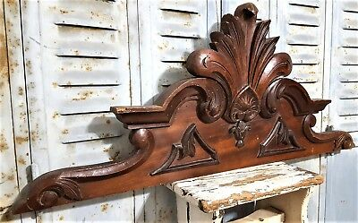 Hand Carved Wood Pediment Antique French Crown Architectural Salvage Carving
