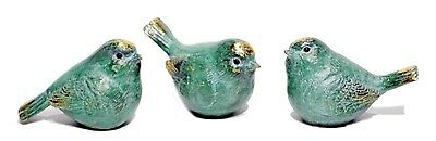 "Resin Turquoise Blue Bird w/Gold Highlights Set/3 Home Decor 3.5"" L NEW STE18195"