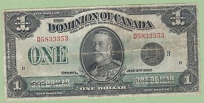 1923 Dominion of Canada One Dollar Note - Campbell/Stellar - Black Seal - F/VF