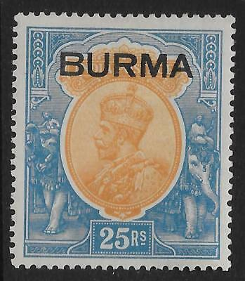 BURMA SG18 1937 25r ORANGE & BLUE MTD MINT