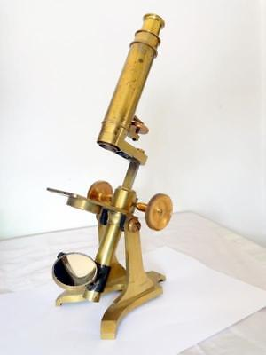 """Antique 19thC MICROSCOPE """" THE INTERNATIONAL 128 """" LACQUERED BRASS COMPOUND DESK"""