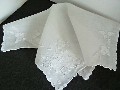 White Hand Embroidered Vintage Hankie Handkerchief Lovely MADEIRA w/ ROSES