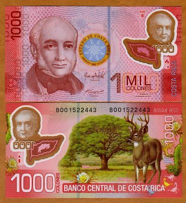 Costa Rica, 1000 Colones 2013 (2017), P-274b, Polymer New Date and Sign. UNC