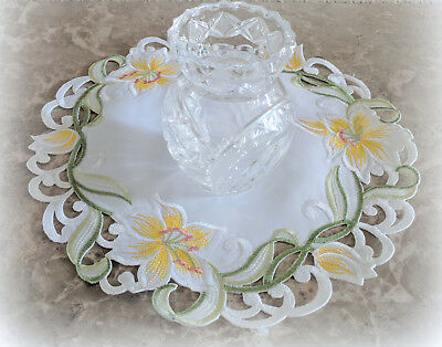 Doily Lily Flower Lace 11 inch  Doily Floral Yellow Lilies Easter Spring