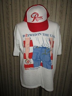 Lot of 2 VINTAGE men RAINIER BEER/brewed in the USA t-shirt & TRUCKER HAT -LARGE
