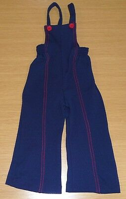 VINTAGE 1970s UNWORN CHILDREN'S NAVY BLUE & RED TRIM NYLON DUNGAREES AGE 2 YEARS