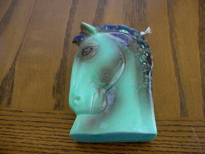 Vintage Ceramic Wall Pocket Planter Unknown Maker Turquoise Blue Horse Head
