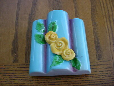 Vintage Ceramic Wall Pocket Planter Unknown Maker Yellow Roses Blue Wall