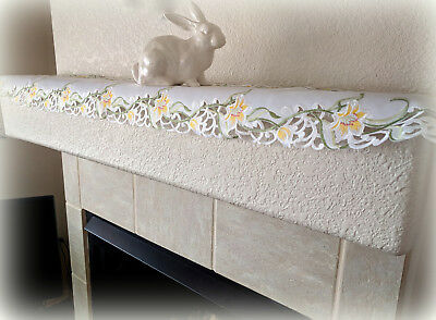 """Dresser Scarf Mantel or Shelf Lily Flower Lace 64"""" x 10.5"""" Easter Doily Spring"""