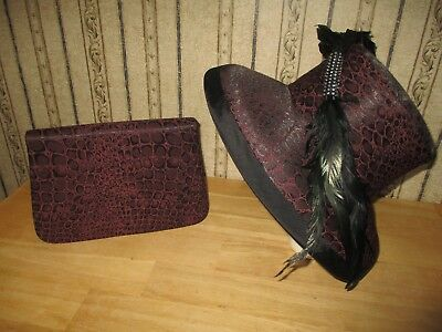 Lot of 2 women VINTAGE WHITTALL & SHON derby/church FEATHER HAT & PURSE gorgeous