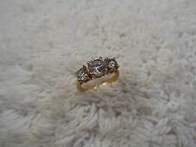 Goldtone Triple Rhinestone Ring - Size 6  (C27)