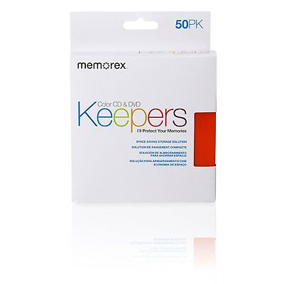 Memorex CD/DVD Keepers - Plastic Sleeves - 50 Pack