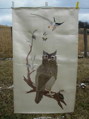 A Beautiful Antique Chinese Embroidered Silk Panel Of Owl & Cricket