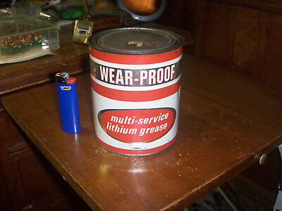 """1968 Vintage Petroleum Chemicals Co. Elgin Ill """"wear-Proof"""" 28 Oz Grease Can."""
