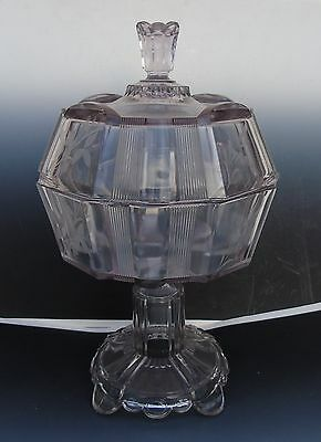 Antique Glassware Clear Grayish Etched Pedestal Covered Compote Ribbed w/ Finial