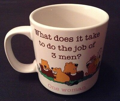 Russ Beaver Jim Benton 1987 Coffee Mug Cup Women Work Lazy Men Vintage Gag Gift