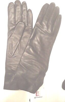 Ladies Grandoe 100% Cashmere Lined Genuine Leather Gloves, M, Brown