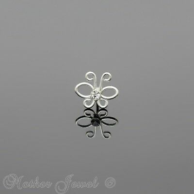 Real Solid 925 Sterling Silver Clear Cz Butterfly Nose Piercing Stud Bone