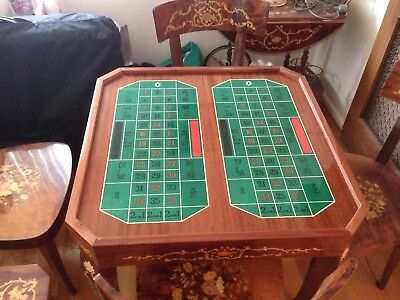 Casino gaming table made in Italy with 4 chairs, side table and drinks trolley
